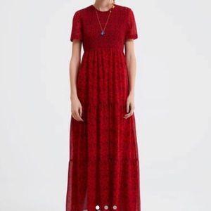 Zara red floral print dress